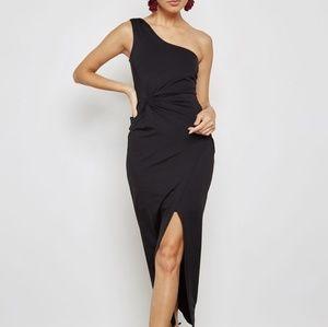 Bardot. Front split one shoulder Ruched dress